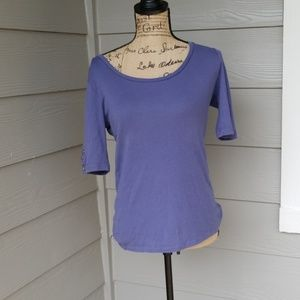 Blue scoop neck bottom tee